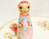 Saint Cecilia Catholic Saint Doll - Wooden Toy - Made to Order