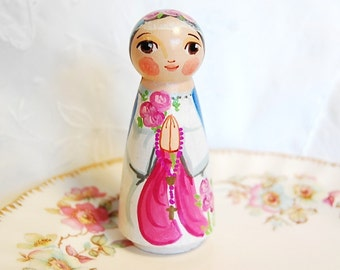 Mystical Rose Blessed Mother Catholic Saint Doll - Wooden Toy - Made to order