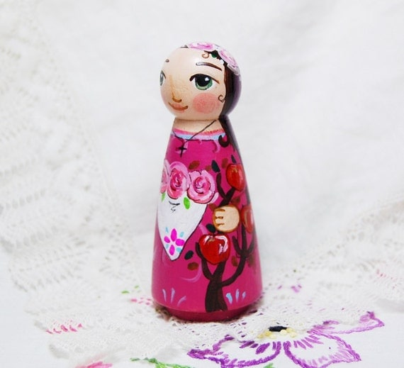 St Dorothy Wooden Toy - Catholic Saint Doll - Made to Order