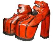 Vintage 1980's Luichiny Cyber Glam Orange Mega Platform Shoe sz 7