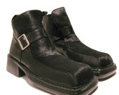 Vintage Mens Luichiny Boots Mens Black Hair On Leather Square Toe Buckle Shoes Mns US size 8