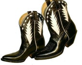 Vintage 1980s Black & White Leather Inlay PEEWEE Western Cowboy Boots woman's sz  6