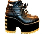Vintage Platform Boots Cyber Glam Industrial Strength Burner Club Kid Black Leather Stack Shoes Will Fit Wms US Size 8