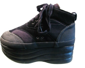 Gym Stack Platform Shoes Womens Black Club Kid Lace Front Athletic Stack Wms US Size 8