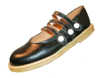 Vintage John Fluevog Black Leather Mary Jane Baby Doll Shoes Made In England Will Fit Wms US Sz 9 1/2