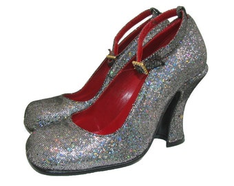 Vintage Luichiny Shoes Spirit of the 20s Sparkle Ankle Strap Baby Doll Womens US size 7