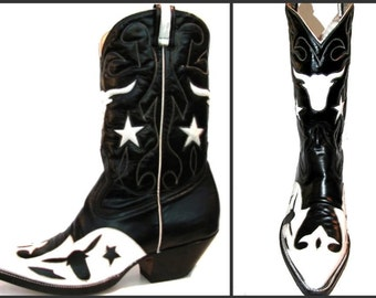 Vintage Cowboy Boots Men's Rancho Loco Leather Inlay Steer Western Boots Mn US Size 8