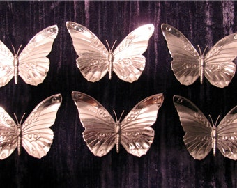 "Butterfly Metal Jewelry Stamping Six Pieces Chrome Silver Plated Brass  2 1/2"" Tall x 3 1/2"" Wide Butterfly DIY Jewelry Making Findings"
