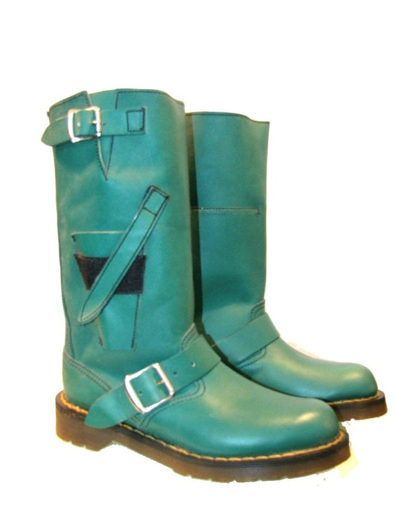 Vintage 1980's Green Leather Dr. Marten Motorcycle Boots from England Wms sz 7