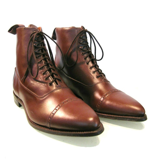 mens steampunk boots victorian brown leather lace up shoes