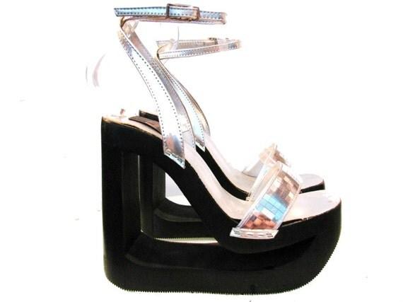 Vintage Platform Shoes Silver Disco Ball Cyber Glam Sandals wms US Size 10