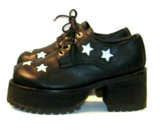 Vintage Mens Platform Shoes Black & White Star Leather Inlay Muro Club Kid Stacks size 8