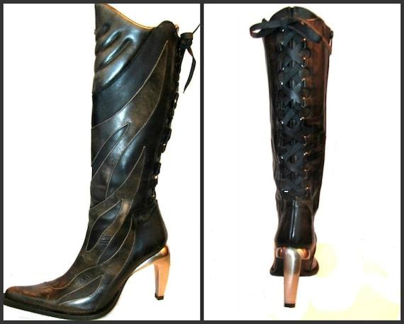 Vintage Knee High Black Leather Corset Back Cyber Glam Boots Euro sz 40 U.S sz  9 1/2