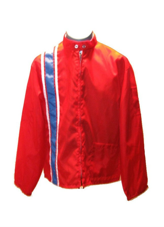 Men's 1970's Vintage Nylon Racing Jacket with Stripes XL