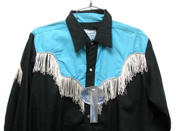 Vintage Men's Rockmount Ranch Wear Turquise/ Black/ White Fringed Cowboy Shirt