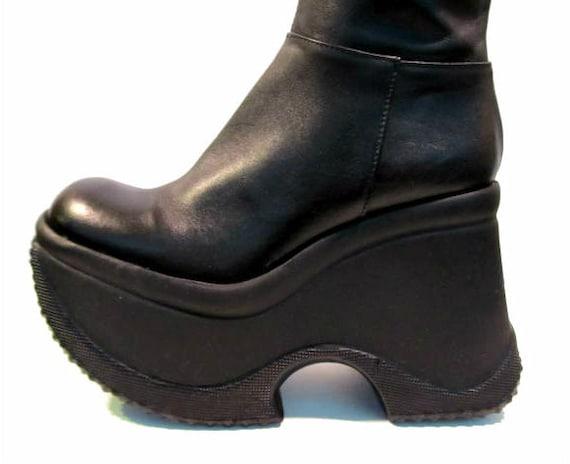 Vintage Platform Boots, Soft Black Leather Knee High Cyber Glam Platform Boots size 6