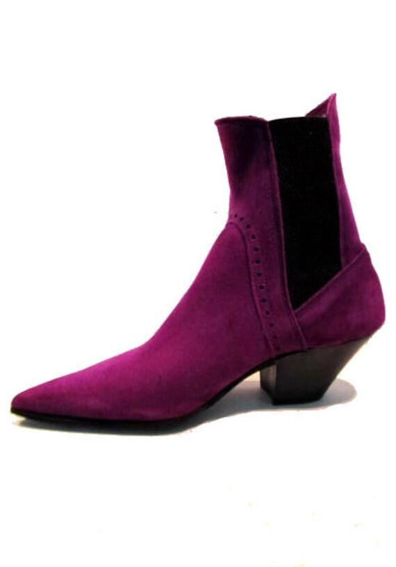 Men's Vintage 1980's John Fluevog Purple Suede Chelsea Beatle Boots from England UK size 6  (Men's US size 7)