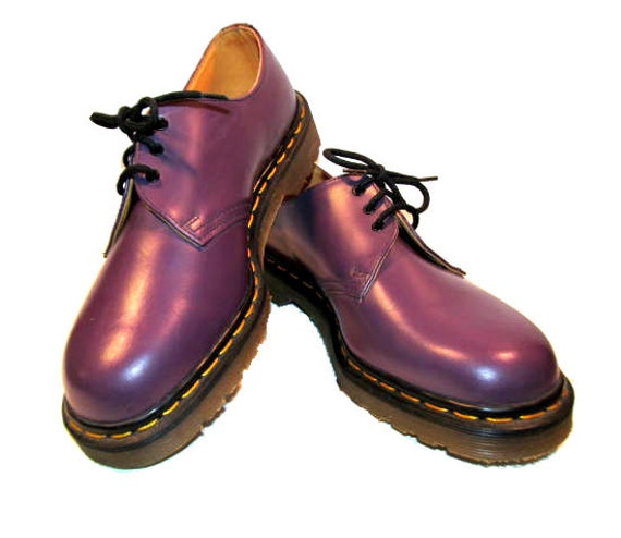 Vintage Men's 1980's Purple Leather NaNa Dr Martens DM Gibson Shoes size 8