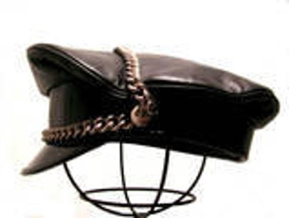"""Vintage Men's Black Leather """"Wild Ones"""" Motorcycle Biker Cap size 7 1/4"""