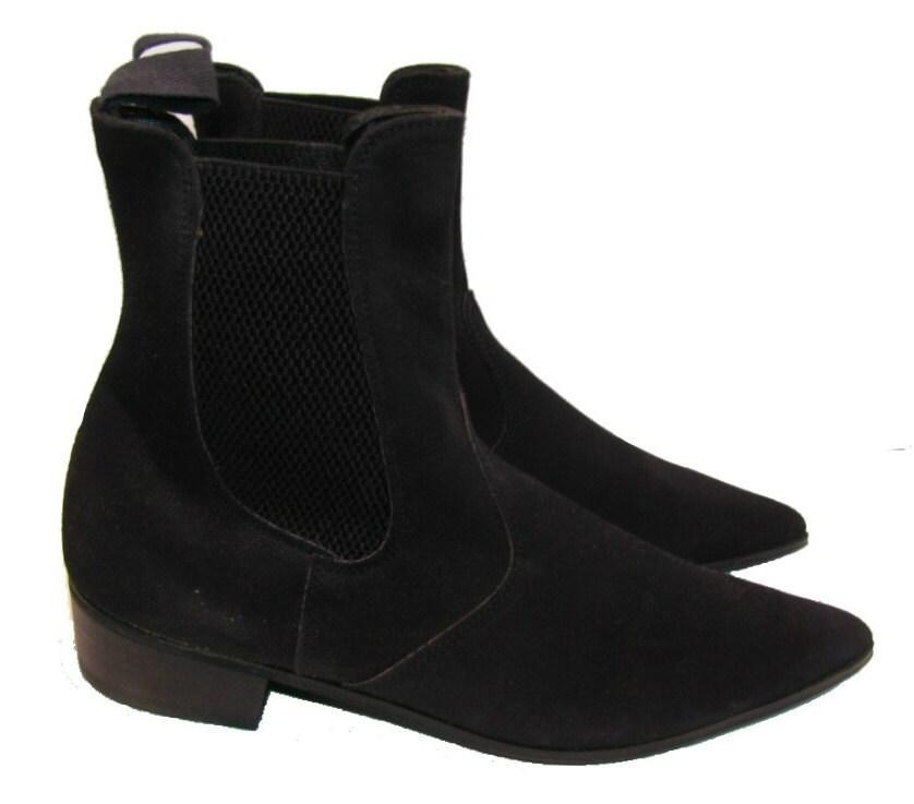 s vintage black suede school chelsea beatle boots