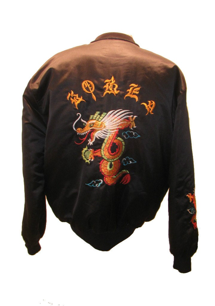 Men s vintage embroidered year of the dragon black satin
