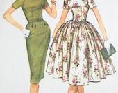 Vintage Dress Pattern - McCall's  5357 - Vtg 1960 Misses' Dress with Slim or Fitted Skirt  - SZ 10