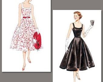 Sz 6/8/10 - Vogue Dress Pattern V2902 - Misses' Sleeveless fit and Flare Dress with Bodice Bands - Vogue Vintage Model 1952 Pattern