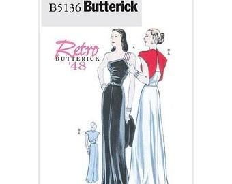 Sz 6/8/10/12 - Misses' One-Shoulder Evening Dress and Reversed Jacket - Reissued Vintage 1948 Pattern - Butterick Retro Pattern B5136