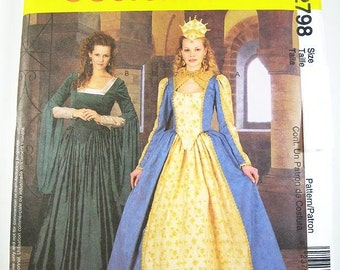 Sz 10/12/14 McCall's Costume Pattern 2798 - Misses' Elizabethan Costumes