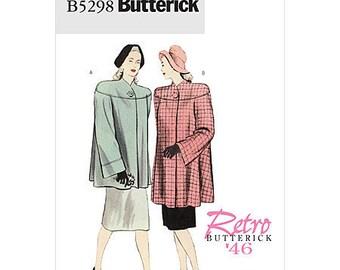 Butterick Retro Coat Pattern B5298 - Misses' 1946 Vintage Style Coat in Two Lengths - Sz 16/18/20/22