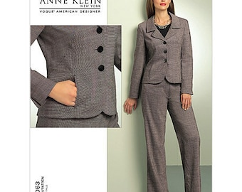 Sz 6/8/10/12 - Vogue Pattern V1063 - Misses' Jacket & Pants - ANNE KLEIN