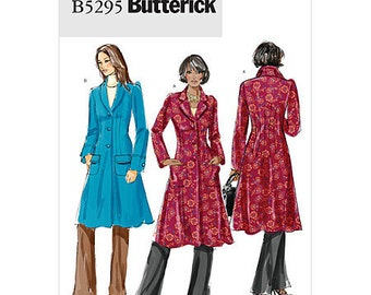 SZ 16/18/20/22/24 - Butterick Coat Pattern B5295 - Misses' Lined, Fit & Flare Shawl Collar Coat in Two Lengths - Front and Back Dart Detail