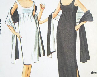Misses' Empire Dress in Two Lengths & Reversible Stole - PAULINE TRIGERE - SZ 12/Bust 32 - Vintage 60s Dress Pattern - McCall's 7521