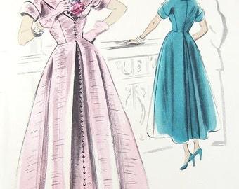Vogue 1940s Couturier Design Dress Pattern - Vogue 494 - Misses' One-Piece Dress - SZ 14/Bust 32