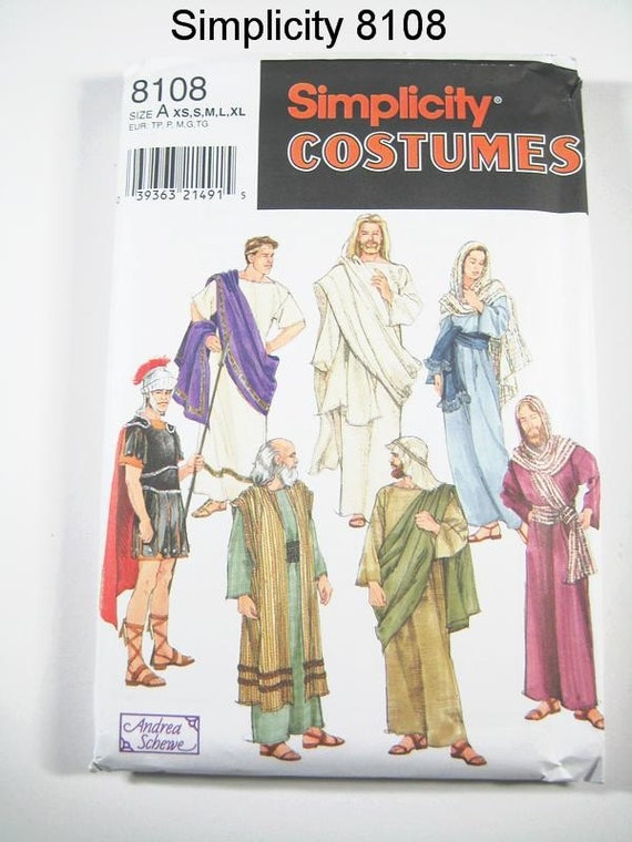 Simplicity Costume Pattern 8108 - Adult Religious Costumes - Jesus and Disciples -  SZ XS/S/M/L/XL