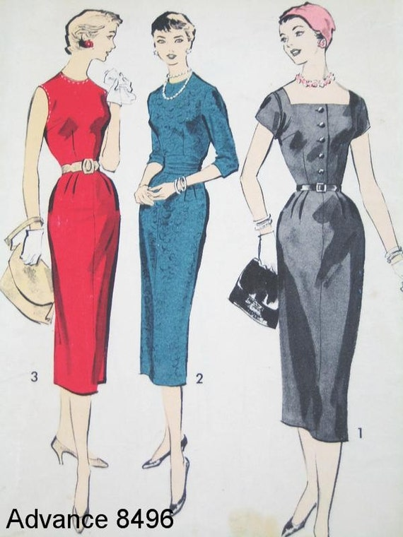 Vintage Dress Pattern - Advance 8496 - Vtg 1960's Misses' Dress in 3 Variations - SZ 16/Bust 36