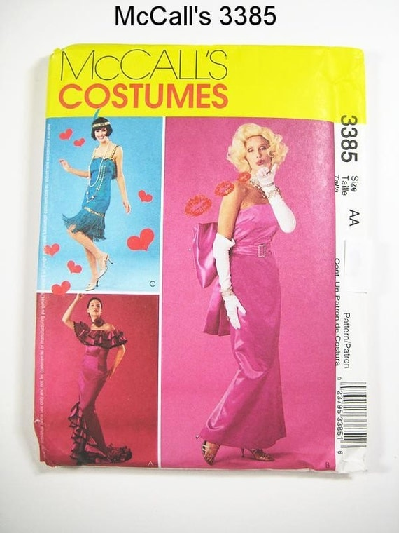 Costume Pattern McCall's 3385 - Misses' Marilyn Monroe, Flapper and Flamenco Costumes - Sz 14/16/18/20