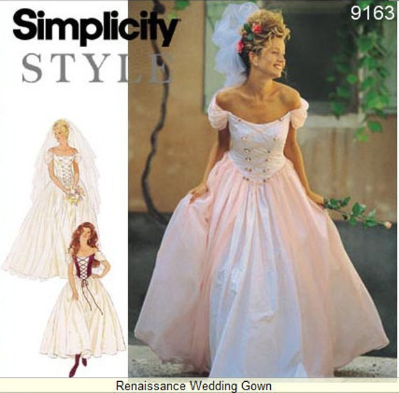 Simplicity Dress Pattern 9163 - Misses' Renaissance Wedding Dress - SZ 6 - 16