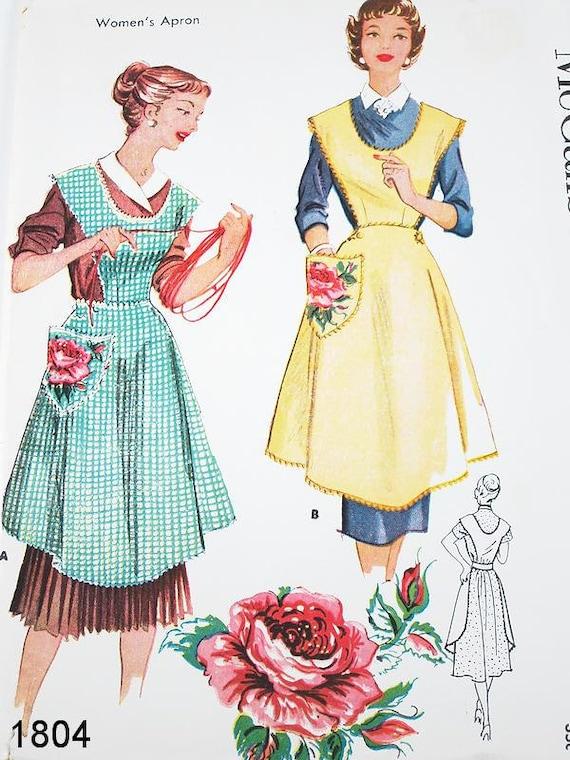 Vintage Apron Pattern - McCalls 1804 - Vtg 1950's Misses' Aprons in 2 Variations & Transfer - Bust 38-40