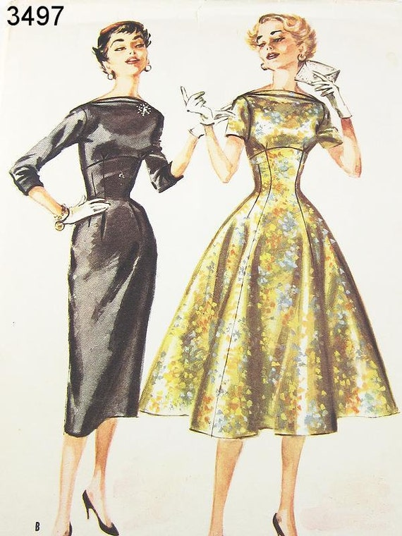 Vintage 50s Dress Pattern - McCall's 3497 - Misses' Cowl Neck Dress in 2 Variations - SZ 11/Bust 29