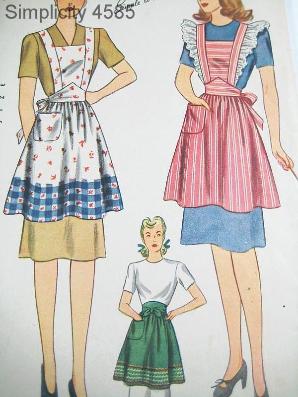 Vintage Apron Pattern Simplicity 4585 Vtg 1940's