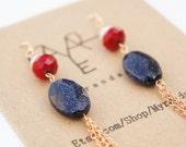 SALE Navy Goldstone and Fringe Earrings in Rose Gold