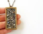 RESERVED Pyrite Nugget Open Frame Necklace OOAK