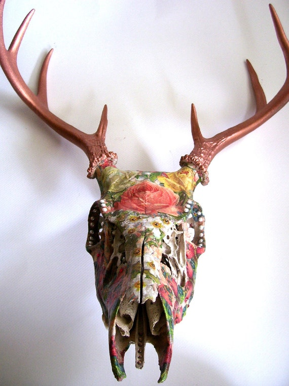Floral And Wings Deer Skull Wall Decor By MyrandaE On Etsy