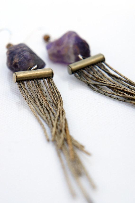 SALE Raw Amethyst Fringe Earrings
