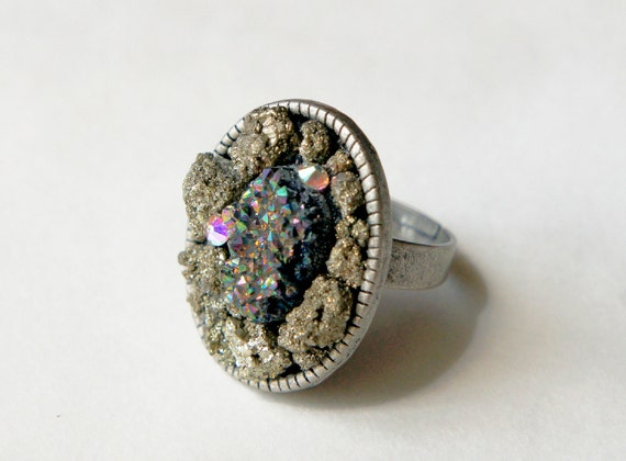 Rainbow Druzy & Pyrite Nugget Ring Adjustable Cocktail
