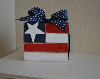 4th of July, American Flag Memorial Day Wood Block - Great decorations for the mantle