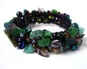 Deep Green Stone Cuff Bracelet Beaded Hand Knit Jewelry Pantone Emerald Green Olive Black Evergreen
