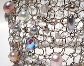 Sweet Pastel Pink Blush Cuff Pearl Beaded Rose Petal Silver Wire Knit Bracelet Bride Wedding Grey White Pearl Crystal
