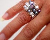 Lavender Pearl Ring-Unique Cocktail Ring-Spring Fashion Pastel-Big Wide Wire Knit Lilac Purple, Crystal, by lapisbeach on Etsy